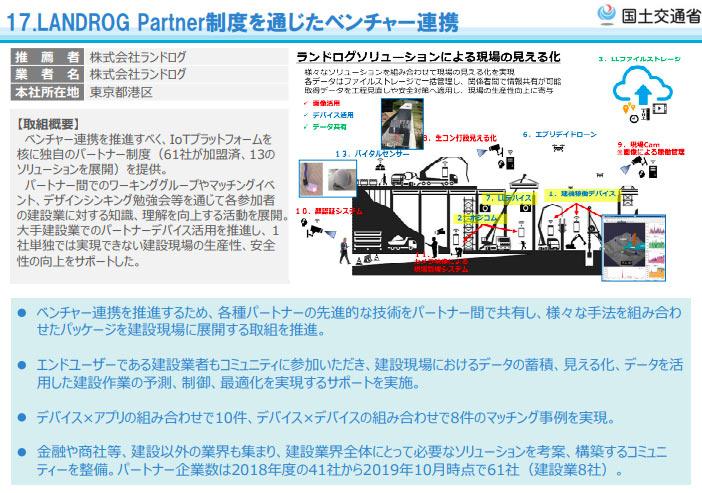 2019i-Construction大賞_17.LANDROG Partner制度を通じたベンチャー連携