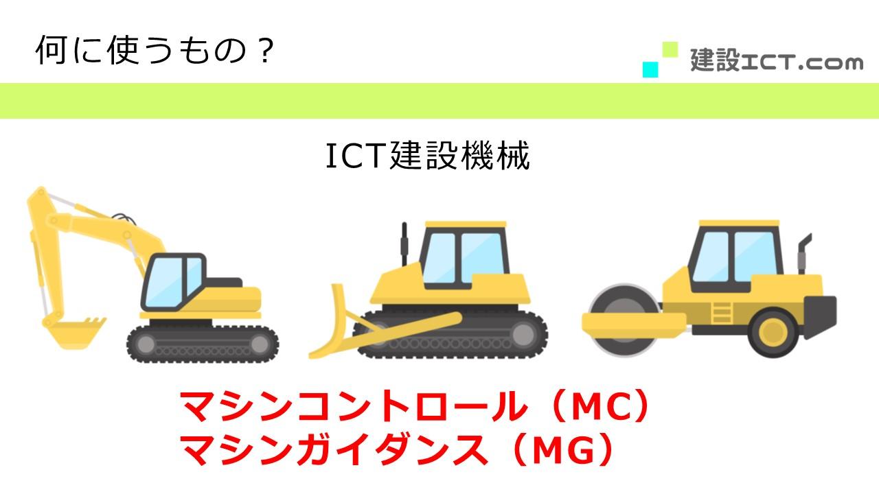 i-ConstructionにおけるICT建機のマシンコントロール・マシンガイダンス(MC/MG)を説明する画像