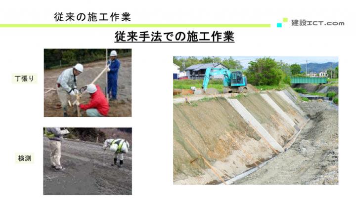 従来の施工作業(丁張り、検測)の写真スライド