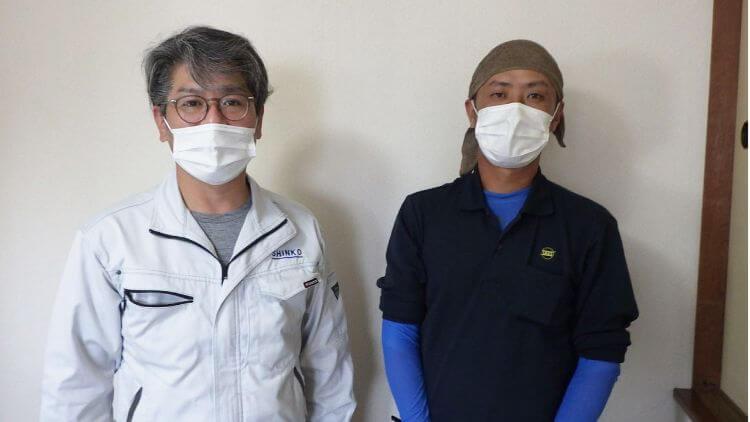 株式会社真幸土木の江藤工事次長(左)と佐々木建設の堀内さん(右)
